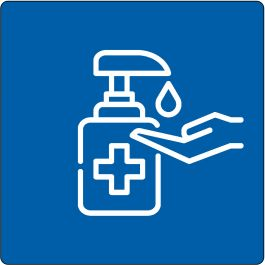 """Handen desinfecteren verplicht""-sticker (Maxi-Loka Premium)"