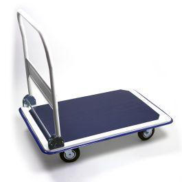 Stalen plateauwagen met inklapbare duwbeugel, lvm. 300 kg