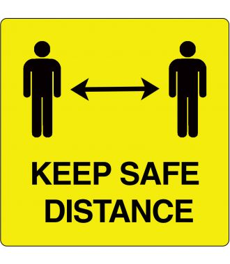 """Keep safe distance""-sticker (Maxi-Loka Premium) Geel & Zwart"