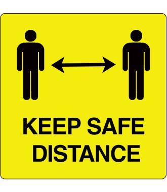 """Keep safe distance""-sticker (Maxi-Loka Premium) Geel & Zwart"