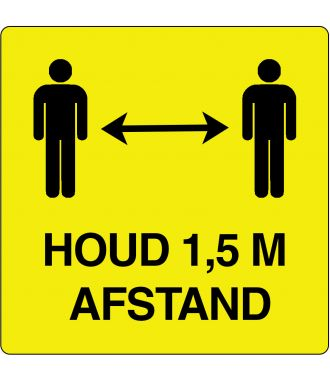 """""""Houd 1,5 m afstand""""-sticker (Maxi-Loka Premium) Geel & Zwart"""
