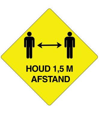 """""""Houd 1,5 m afstand""""-sticker (Maxi-Loka Premium) Geel & Zwart 45 graden"""