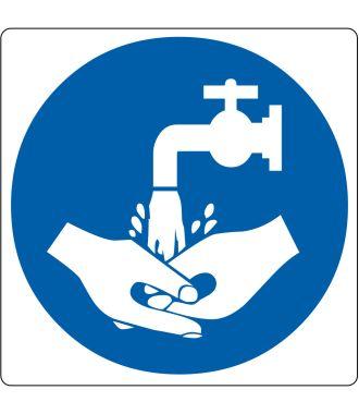 """""""Handen wassen verplicht""""-sticker (Maxi-Loka Premium)"""