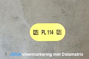 vloermarkering met Datamatrix 2D-barcode